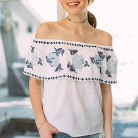 Anissa Off The Shoulder Embroidered Ruffle Top