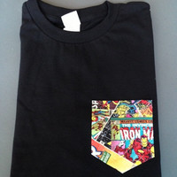 New Mens T-Shirt with Marvel Comic Heroes Pocket  Available in Black or White