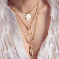 TX418 summer style 4 layer arrow design necklace pendant charm gold choker necklace women jewelry