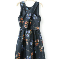 Dark Blue Grass Print Sleeveless Cross Back Dress