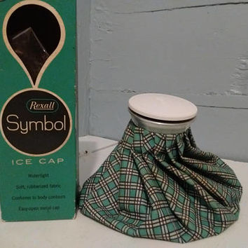 """Vintage, Ice Cap, 9"""", Rexall, Ice Pack, Ice Holder, Soft, Cloth, Plaid, Turquoise, Rubberized, Photography Prop, RhymeswithDaughter"""