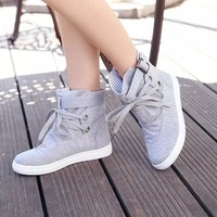 autumn winter  boots for women Women's Ankle Boots Flats With Buckle Lace-Up Fashion Canvas Martin Boots  #NFA