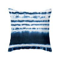Blue Dipped Tie-Dye Pillow