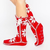 Loungeable Red Nordic Knit Christmas Sock at asos.com