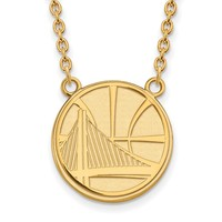 NBA Golden State Warriors Lg Necklace in 14k Yellow Gold - 18 in
