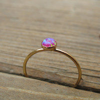 Gold Stacking Ring 09 Pink Fire Opal Gemstone