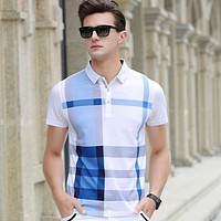 Men Polo Shirt Hot Sale New Plaid  Fashion Classic Casual Tops Short Sleeves Famous Brand Cotton Skull High Quality