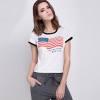 Flag Letters Printed T-Shirt