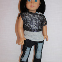 grey tank top,silver lace off the shoulder tee and dark wash ripped denim skinny jeans, 18 inch doll clothes, american girl, Maplelea