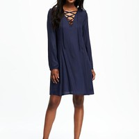 Lace-Up Neck Swing Dress for Women   Old Navy