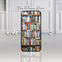 Book library, Design For iPhone 4/4s Case or iPhone 5 Case - Black or White (Option)