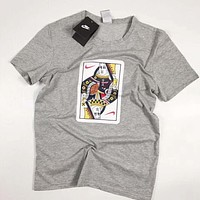 NIKE Fashion New Hook Playing Cards Print Women Men Leisure Top T-Shirt Gray