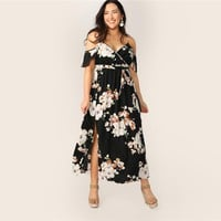 Plus Size Cold Shoulder Botanical Wrap Maxi Dress Women Boho Fit and Flare High Waist Spaghetti Strap Dresses