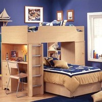 South Shore Newton Twin over Twin Loft Bed with Desk and Bookshelves
