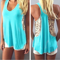 Scoop Sleeveless Organza Casual H-shaped Back Vest