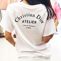 DIOR Classic Fashionable Women Men Casual Print Short Sleeve Sport T-Shirt Top