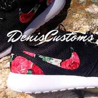 Ready to ship in 2 days !!! Womens 6.5 US size. Nike Roshe Run One Black with Custom Red Pink Rose Floral Print