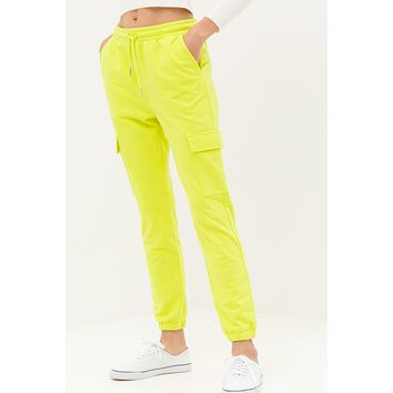 Relaxed Fit High Waisted Crop Jogger Pants with Elastic Waist