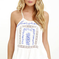 Future Frolicking Ivory Embroidered Top