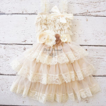 Flower Girl Dresses - Lace Flower girl dress - Baby Lace Dress - Rustic -Country Flower Girl -Lace Dress -Ivory Lace dress -girls lace dress