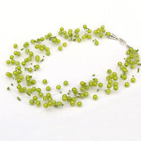 Yellow Green Necklace. Wedding Necklace. Beadwork.  Multistrand Necklace.