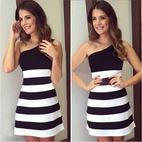Women Short Dresses Summer Stripes Stitching Slim Party Club Dress S M L XL