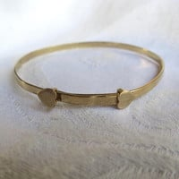 Gold Filled Baby Bracelet, Victorian Baby Bangle Bracelet, Double Hearts, Vintage Baby Jewelry, New Baby, Toddler Birthday