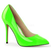 "Amuse 20 Neon Green Pointy Toe Pump 5"" Heels"