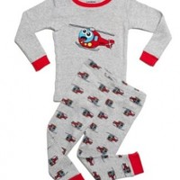 """Leveret Little Boy """"Helicopter"""" 2 Piece Pajama 100% Cotton (Size 12M-8 Years)"""