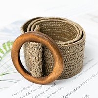 Wooden Button Belt Women Elastic Straw Belt Decoration Dress Belt Casual Female Belt Accessories