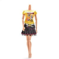 2 Pcs/set Fashion T-Shirt Skirt for Barbies Cute Doll Cloth with Pasting 3C