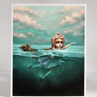 Alice in the Sea of Tears - Limited Edition Alice in Wonderland signed numbered 8x10 pop surrealism Fine Art Print by Mab Graves