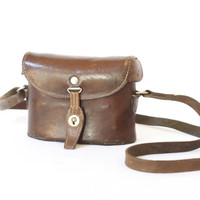 SWISS ARMY WW1 Binoculars Bag from 1917, Military Binoculars Case, Mid Brown Saddle Leather, Man Bag, Crossover Messenger Bag, Switzerland