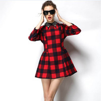 Red Plaid Sleeve Collared Dress
