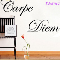 "PVC Characters ""Carpe Diem"" Wall Sticker home decor decals decoration Removable High Quality Black 60*14CM SM6"