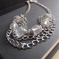 Winter White Ice Necklace: Twisted Chunky Layered Chain Bib Necklace, Christmas Holiday Jewelry