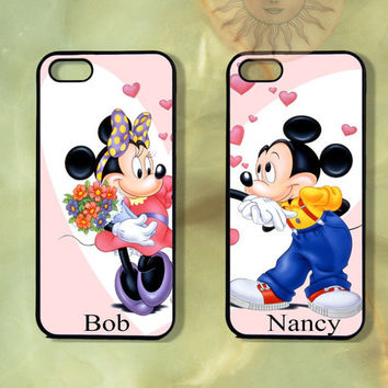 Minnie and Mickey Couple Case UP-iPhone 5, iphone 4s, iphone 4 case, ipod 5, Samsung GS3-Silicone Rubber or Hard Plastic Case, Phone cover