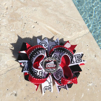 Personalized Stacked CHEER Boutique Hair Bow Red, Black and White with Flattened Bottlecap Cheerleading Bow Cheerleader Bow