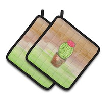 Cactus Green and Brown Watercolor Pair of Pot Holders BB7365PTHD