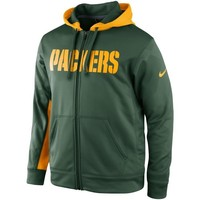 Nike Green Bay Packers KO Full Zip Performance Hoodie - Green