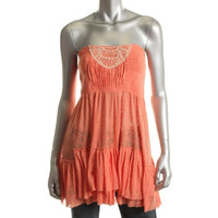 Free People Womens Burnout Smocked Tunic Top