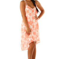 Never Leave Me Dress: White/Neon Coral