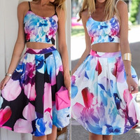 Fancyinn™ 2015 New Arrival Women Fashion Summer Dress Strapless Sleeve With Flower Print  Designed Two Pieces Hot Sell = 5979081537