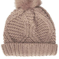 Fur Pom Cable Beanie - New In This Week  - New In