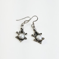 Sterling Mother of Pearl Earrings - Victorian Dangle Earrings - Sterling Dangle Earrings - MOP Dangle Earrings - Sterling Star Earrings