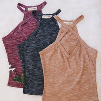 Diana Cross Strap Knit Tank (Black, Taupe, Burgundy)