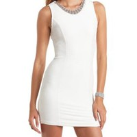 Beaded Shimmer Sleeveless Bodycon Dress by Charlotte Russe - White