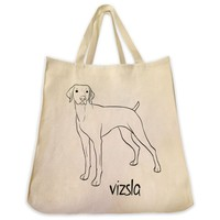 Vizsla Dog Outline Design Extra Large Eco Friendly Reusable Cotton Canvas Tote Bag