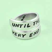 UNTiL THE VERY END - Hand Stamped Spiral Ring, Harry Potter Inspired Ring, Lightning Bolt Symbol Ring