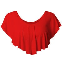 LE3NO Womens Stretchy Flowy Crop Top with Ruffle Detail (CLEARANCE)
